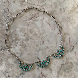 Native American Sterling Turquoise Necklace